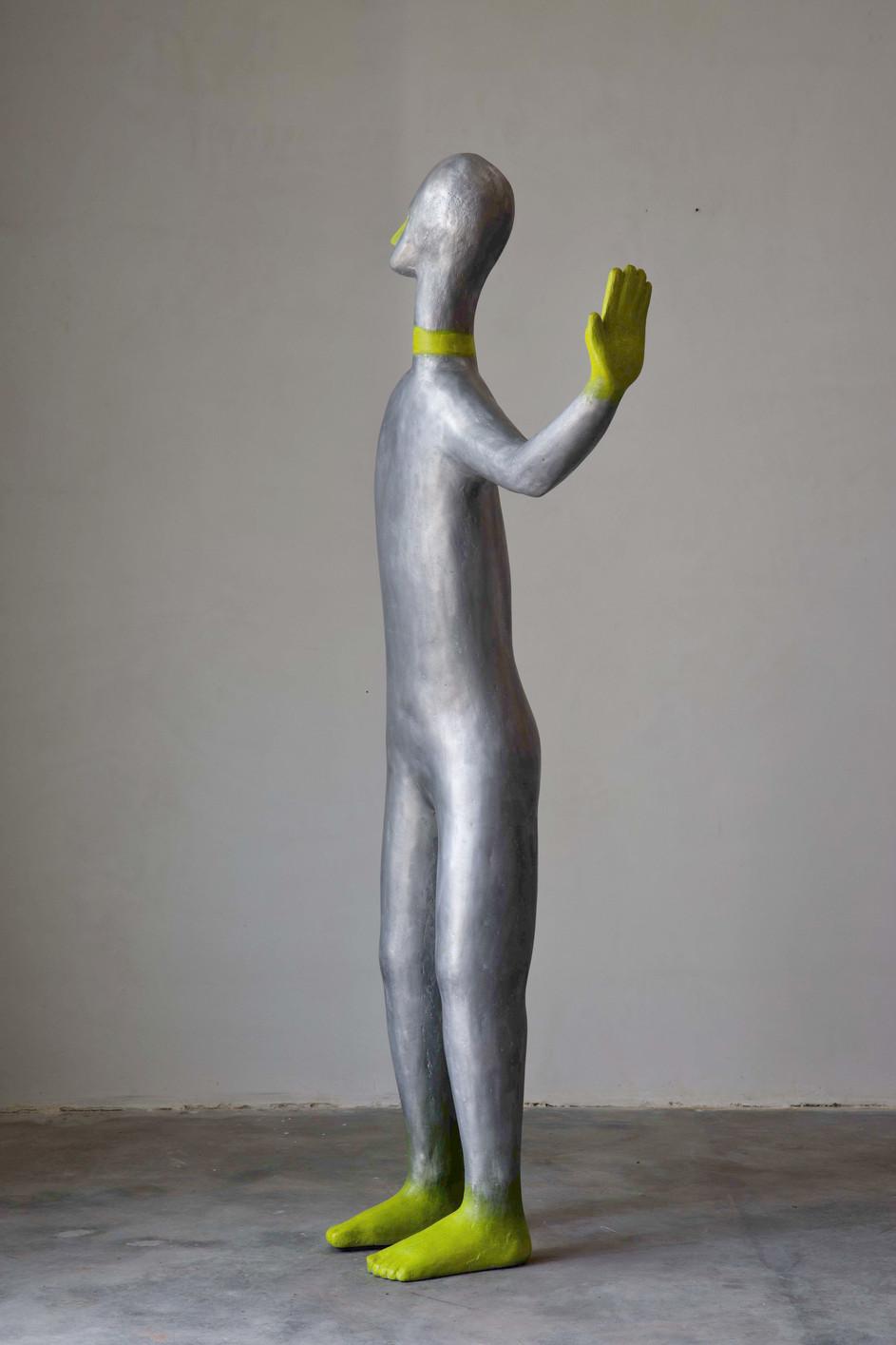 HENK VISCH Doorman with Yellow feet,  aluminium, paint 207 x 40 x 90 cm