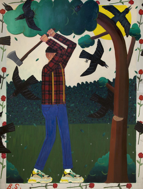 BEN SLEDSENS Lumberjack, 2018 oil and acrylic on canvas 200 x 150 cm