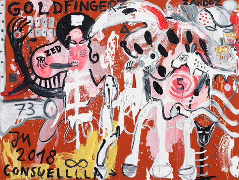 JONATHAN MEESE DOC-DR.-DRACULA'S BABYEVOLUTION DE L.A.R.G.E.! (EVOLUTIONSBABYISMUS), 2018 acrylic on canvas 210 x 281 x 3,3 cm