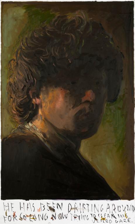 RINUS VAN DE VELDE He has been drifting around, 2021 oil pastel on paper 110,2 x 66,7 cm
