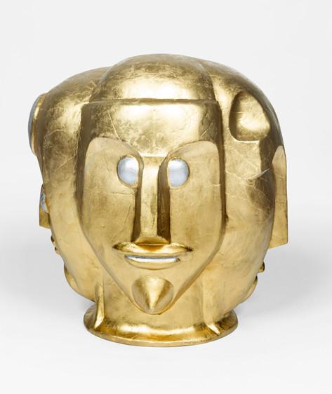 MARCEL DZAMA The four gods of the golden age, 2020 papier mâché and spray paint 52,1 x 48,3 x 48,3 cm