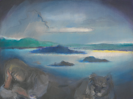 LEIKO IKEMURA Lago with a lying Figure,  2009 oil on jute 90 x 120 cm