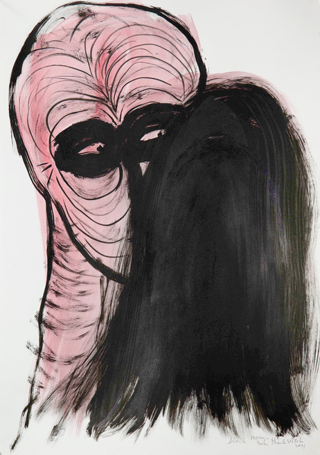 HENK VISCH Black mountain, 2021 watercolor, ink and pencil on paper 42 x 29,7 cm