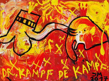 "JONATHAN MEESE KAMPFPFOTE ""MILCHBUB"", 2017 acrylic on canvas 210 x 281 x 3,3 cm"
