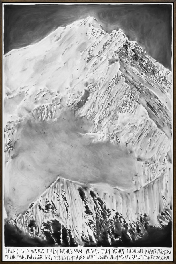 RINUS VAN DE VELDE There is a world they never saw,…, 2019 charcoal on canvas, artist frame 215 x 141 cm