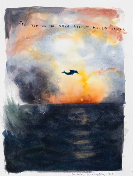 FRIEDRICH KUNATH See You On The Other Side of Mid-Life Crisis, 2021 watercolor and archival ink on paper 41 x 31 cm
