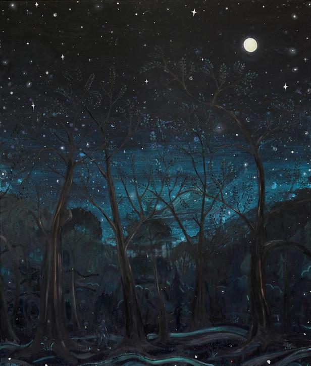 BEN SLEDSENS Wanderer in the Dark, 2015 oil, acrylic, spray on canvas 170 x 145 cm