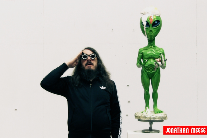 JONATHAN MEESE DEAR ALIEN FRIEND,  UFO BOY, UFO GIRL, ARE YOU RELIGIOUS?  NO, OUR LEADER IS ART!, 2017 video with sound 9 minutes 18 seconds edition of 3 and 1 A.P.