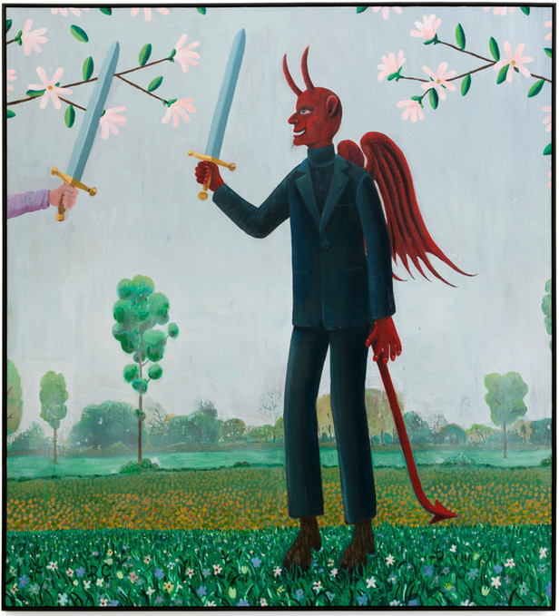 BEN SLEDSENS The Devil in a Suit, 2020 oil and acrylic on canvas 200 x 180 cm
