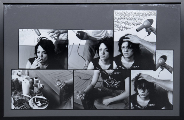 ED TEMPLETON Untitled (Asia Argento,Blow Dry), 2004 50,8 x 73,7 cm black and white photograph collage with text, framed