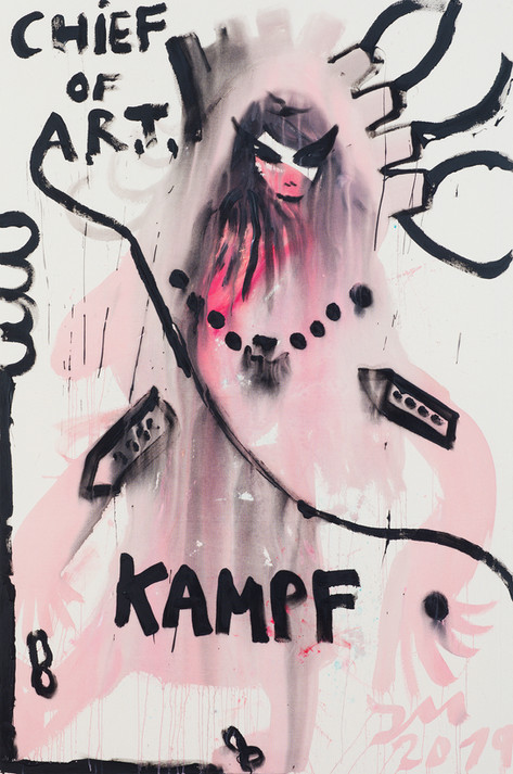 JONATHAN MEESE LADY IN KAMPF!, 2019 acrylic on coarse untreated cotton cloth 210,5 x 140,3 x 3,3 cm