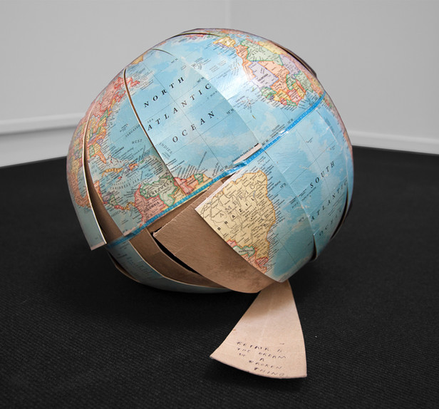 FRIEDRICH KUNATH Repair is the Dream of a Broken Thing, 2018 cardboard globe and ink 30 x 33 x 39 cm - unique