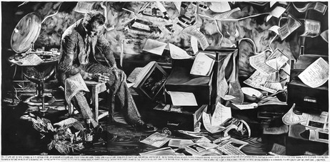 RINUS VAN DE VELDE 'What isn't, can be done, I continued, 2015 charcoal on canvas 300 x 600 cm