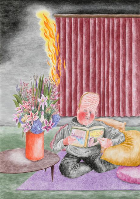 DENNIS TYFUS Het meisje met de zwavelstokjes, 2020 colored pencil on paper 100 x 70 cm 110,3 x 80,8 x 4 cm (frame)