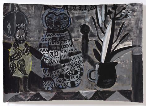 TAL R Detroit, Adela & cinnamon, 2020 gouache on paper 76 x 108 cm