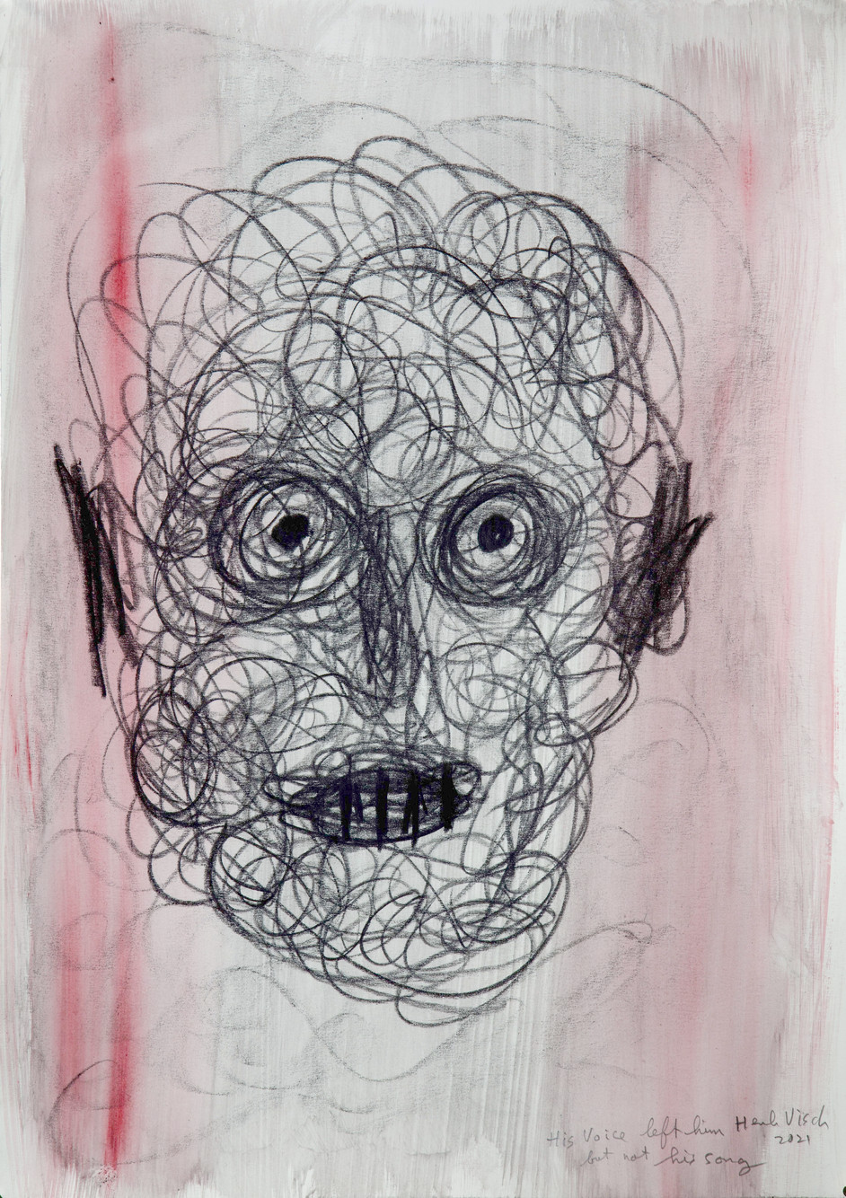 HENK VISCH His voice left him but not his song, 2021 watercolor and pencil on paper 42 x 29,7 cm