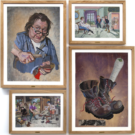 KATI HECK Klop, klop, klack klack klack, 2018 gouache, color pencil, collage on paper, artist frame 120 x 121,5 x 3,5 cm