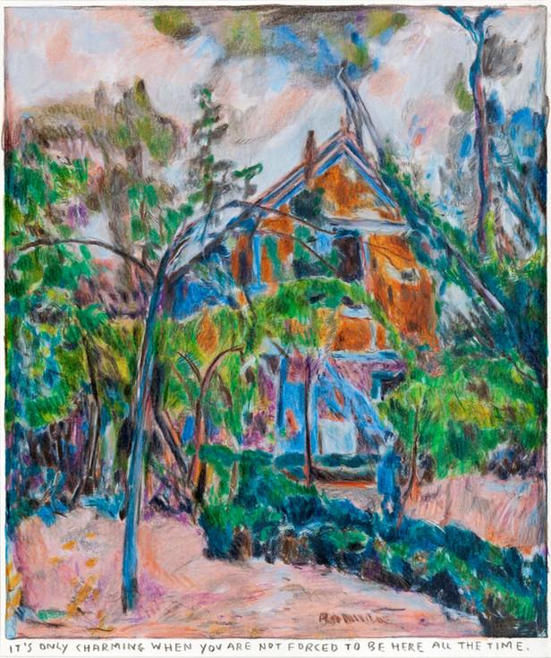 RINUS VAN DE VELDE It's only charming..., 2019 colored pencil on paper, artist frame 30 x 25,1 cm