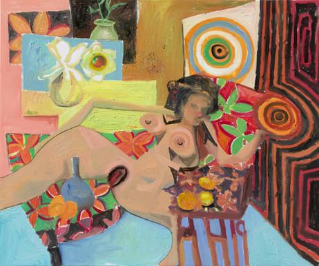 ANTON HENNING Interieur mit Pin-up und Früchten, No. 3, 2019 oil on canvas 150 x 180 cm