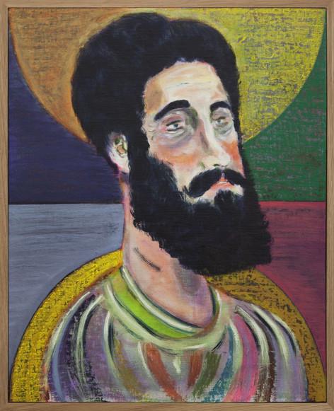 RYAN MOSLEY Theme from a Greek myth, 2017 oil on linen on board, framed 52 x 42 cm