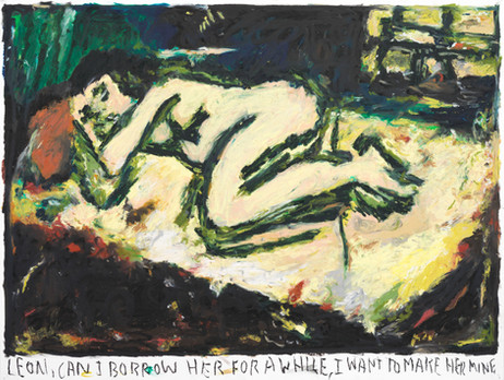 RINUS VAN DE VELDE Leon, can I borrow her for a while,..., 2021 oil pastel on paper 73,3 x 96,6 cm