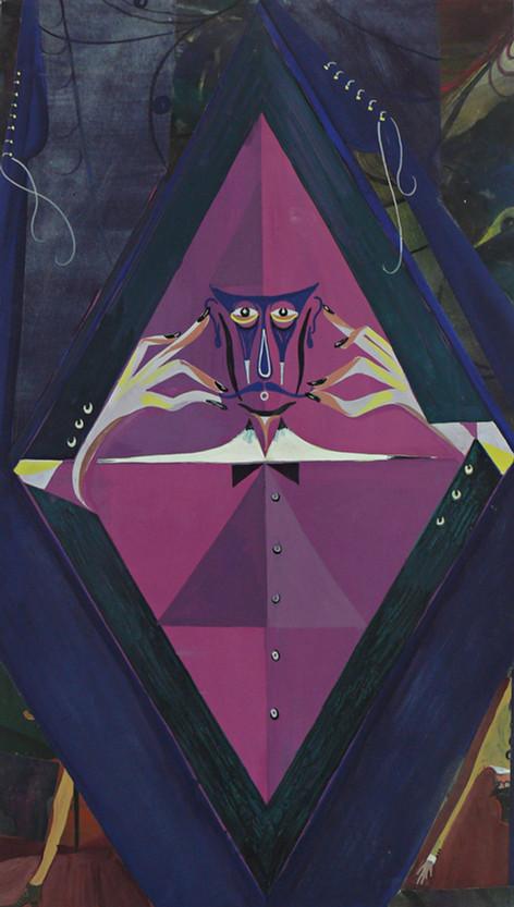 TOMASZ KOWALSKI Untitled (Moustache), 2010 collage, gouache on paper, mounted on wood 70 x 40 cm