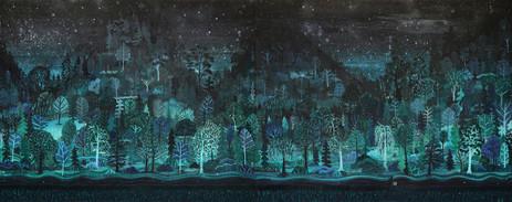 BEN SLEDSENS Passing Landscapes, 2016 200 x 500 cm oil, spray paint, chalk, acrylic on canvas