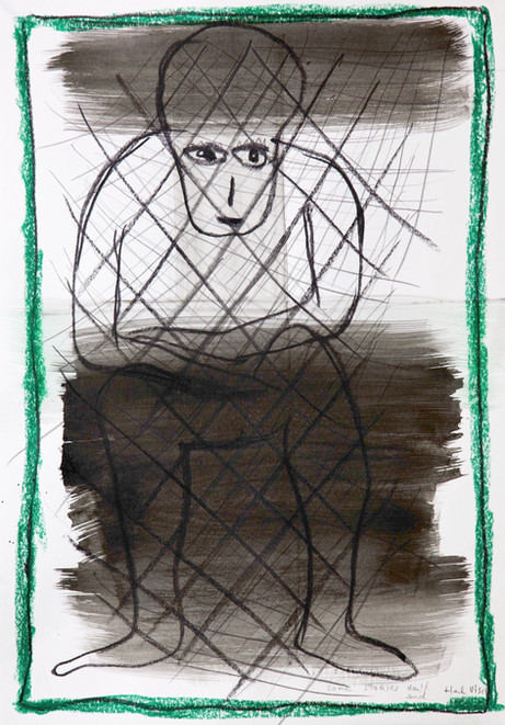 HENK VISCH Some stories don't end, 2021 ink, crayon, and pencil on paper 42 x 29,7 cm