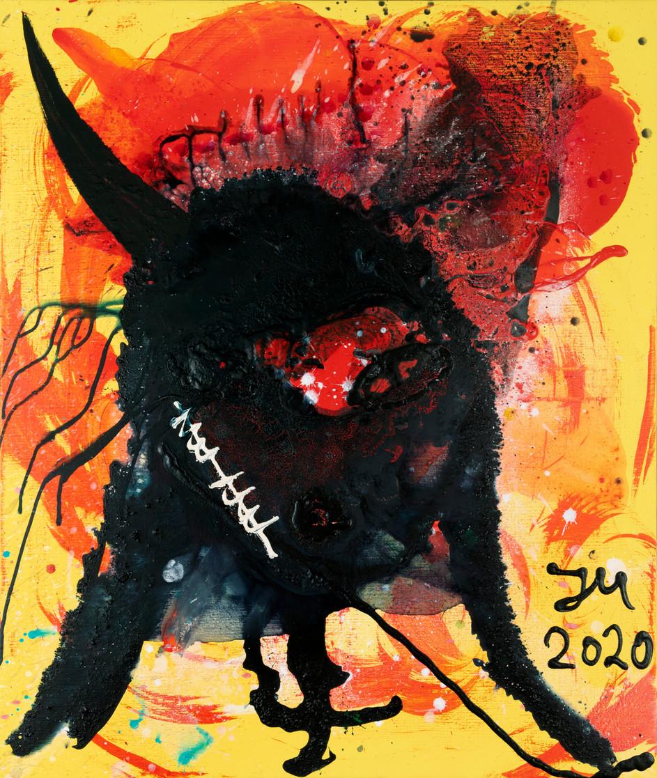JONATHAN MEESE GENERAL-MAMBA-TANZ!, 2020 acrylic on canvas 120,5 x 100,3 x 3,3 cm