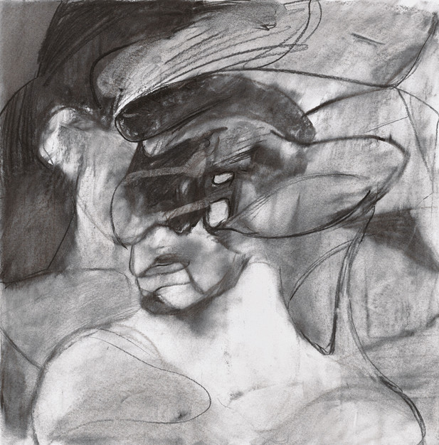 """ADRIAN GHENIE Study for """"Self-Portrait with Picassoesque Background"""", 2020 charcoal on paper 56 x 55 cm"""