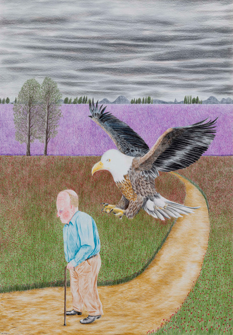 DENNIS TYFUS I'll Pick You Up, 2020 colored pencil on paper 100 x 70 cm 110,3 x 80,8 x 4 cm (frame)