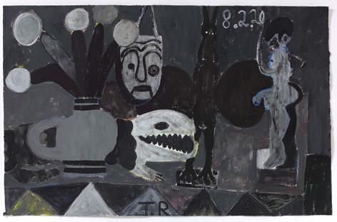 TAL R Menade, Crocodile Street & boredoms, 2020   gouache on paper  80 x 125 cm