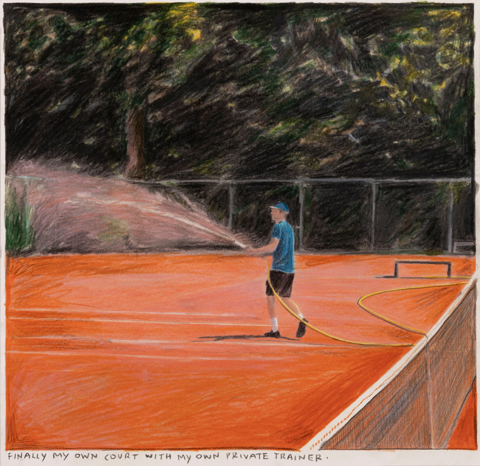 RINUS VAN DE VELDE Finally my own court..., 2020 colored pencil on paper 27,9 x 28,5 cm