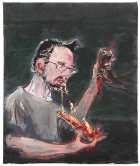 AARON VAN ERP, Hertog Tstrip/Herr Tochtstrip met pizzapunt en drinkhoorn, 2014-2015