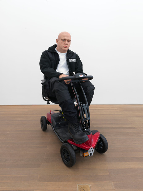 DENNIS TYFUS Strafstudie 5 : Our Priority, 2021 polyurethane, clothes, electric scooter, motion sensor 134 x 62 x 110 cm