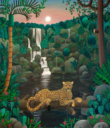BEN SLEDSENS Jaguar in the Jungle, 2018 oil, acrylic and spray paint on canvas 210 x 180 cm