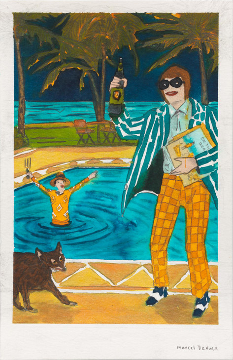 MARCEL DZAMA A purgatory pool party, 2020 ink, watercolor, and graphite on paper 21,5 x 14 cm