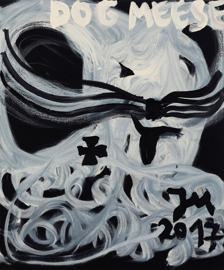 "JONATHAN MEESE HMMMM: HOT DOG DEUTSCHLANDR. ""MIAU-MIAU"" DE LARGE! (HAPPA-HAPPA-MACHEN), 2017 acrylic on canvas 120,5 x 100,3 x 3,3 cm"