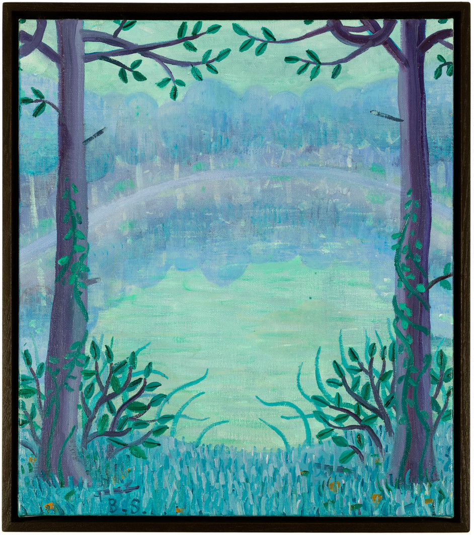 BEN SLEDSENS Blue Lake Purple Trees, 2019 oil and acrylic on canvas 40 x 35 cm