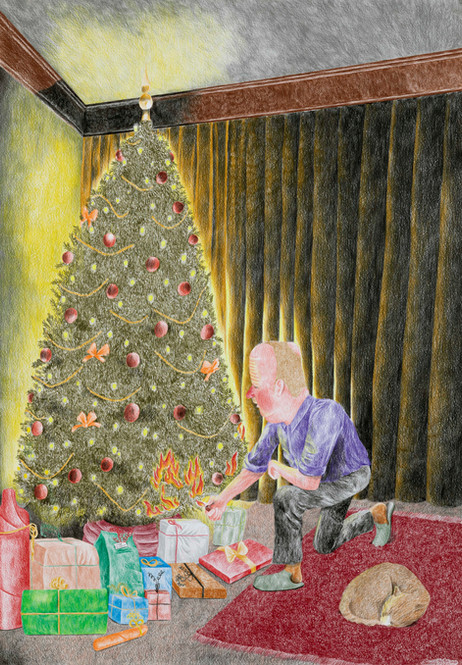 DENNIS TYFUS (Very) Last Christmas, 2020 colored pencil on paper 100 x 70 cm 110,3 x 80,8 x 4 cm (frame)