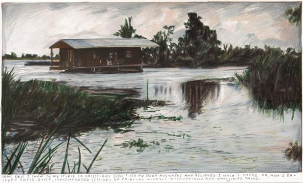 RINUS VAN DE VELDE Some days I swam..., 2019 colored pencil on paper 30,1 x 50,8 cm, 72,5 x 93 cm (framed)