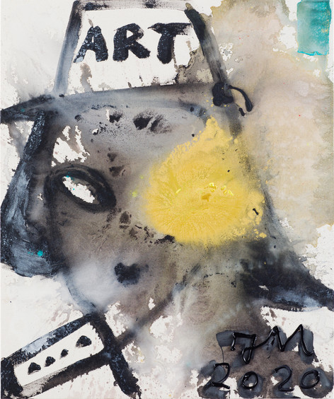 JONATHAN MEESE BONE-NANA THE GOLD!, 2020 acrylic on coarse untreated cotton cloth 120,5 x 100,3 x 3,3 cm