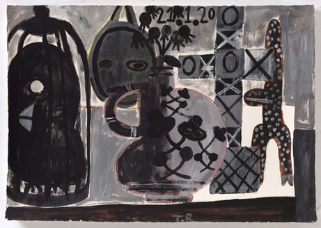 TAL R Virgin, Jacob & Eldorado, 2020 gouache on paper 54 x 76 cm