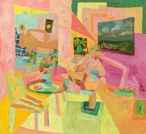 ANTON HENNING Interieur mit Pin-up, Blumenstilleben und Früchten, No. 3, 2019 oil on canvas 240 x 260 cm