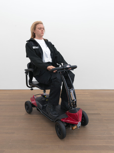 DENNIS TYFUS Strafstudie 4 : Our Priority, 2021 polyurethane, wig, clothes, electric scooter, motion sensor 145 x 55 x 103 cm