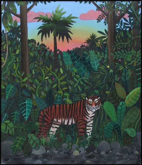 BEN SLEDSENS Tiger in the Jungle (Hommage Henri  Rousseau), 2016 oil and acrylic on canvas 200 x 175 cm