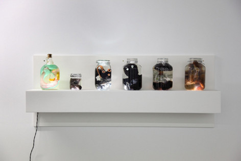 GELITIN Reine Magarine Rilke Jean Jacques, 2013 plush, oil, bottle, light box 52 x 165 x 24 cm
