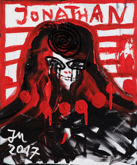 "JONATHAN MEESE GERMANY ""JOEJIM"", 2017 oil and acrylic on canvas 120,5 x 100,3 x 3,3 cm"