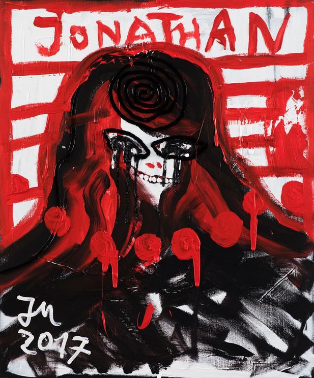 "JONATHAN MEESE GERMANY ""JOEJIM"", 2017 oil and acrylic on canvas 120,5 x 100,3 x 3,3 cm"
