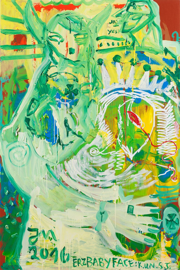 JONATHAN MEESE DAS 1. KUNSTBESTE IST RADIKALST DER C.H.E.F., 2016 oil, acrylic and acrylic gel on canvas 270,3 x 180,2 x 4 cm